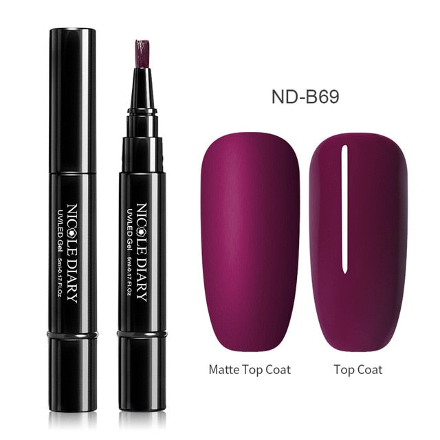 ND-B74 NICOLE DIARY 56 Colors Nail UV Gel Polish Nail Varnish Pen One Step 3 In 1 Nail Art Color Gel Matte Top Coat Soak Off