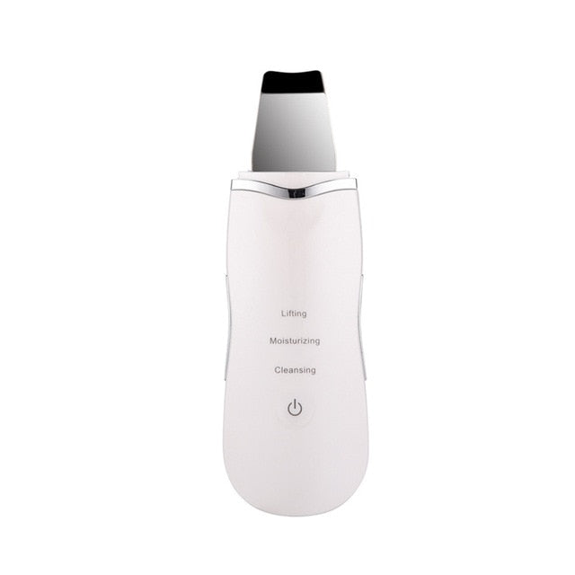 White No Logo Professional Ultrasonic Facial Skin Scrubber Ion Deep Face Cleaning Peeling Rechargeable Skin Care Device Beauty Instrument 43