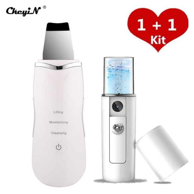 Milk White Ultrasonic Nano Ion Skin Scrubber Cleaner Face Lifting Peeling Extractor Deep Cleaning Beauty Device + Facial Steamer Sprayer 46