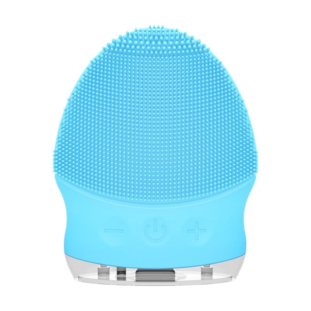 JMY002-blue Electric Silicone Face Cleansing Brush Sonic Massage USB Rechargeable Ultrasonic Face Cleaner Beauty Tool Facial cleansing brush