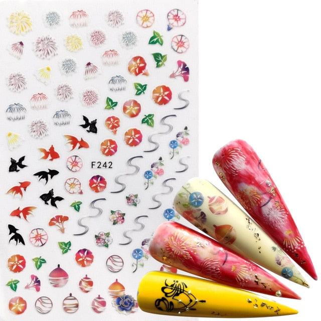 F580(WBZ) 1 PC Nail Art Sticker Retro Styles Slider Watercolor Ink Ballet Dancing Women Accessoires Tips for Nail Polish