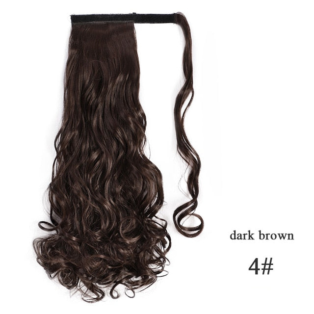 Ombre Brown Blonde Pony Tail  1013-2  22inches  Vigorous Corn Wavy Long Ponytail Synthetic Hairpiece Wrap on Clip Hair Extensions   Fack Hair