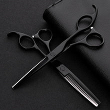 Black professional japan 440 steel 6 inch  hair scissors set cutting barber salon haircut thinning shears hairdressing scissors