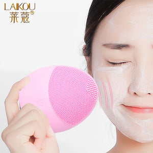 Color1 LAIKOU Silicone Face Cleansing Brush Electric Face Cleanser Electric Facial Cleanser Cleansing Skin Deep Washing Massage Brush