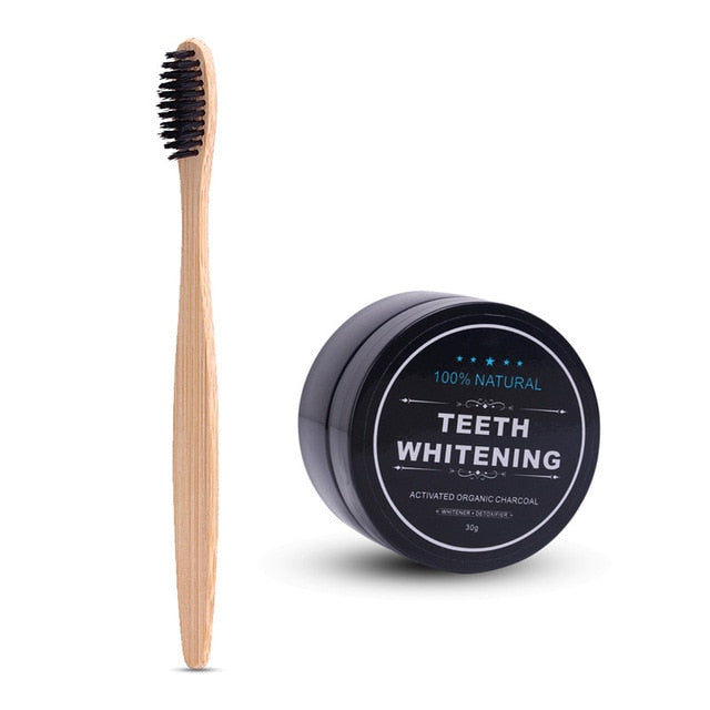 1Powder Teeth Whitening Bamboo Charcoal Toothbrush Soft-bristle Wooden Tooth Brush Tooth Powder Oral Hygiene Cleaning