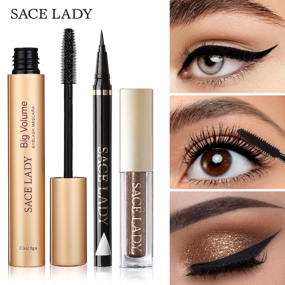 Black SACE LADY Professional Eye Makeup Set Glitter Eyeshadow  Eyeliner Mascara Make Up Eye Shadow Kit Brand Waterproof Cosmetic