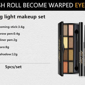 4pcs one set New Women Brand makeup set,Fashion cosmetics kit,Dazzling eyeshadow,WaterProof Roll Mascara,Magic Eyeliner,Fine grooming stick