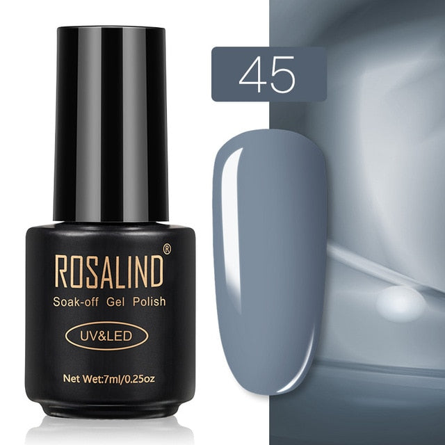 35 ROSALIND Gel Nail Polish Nail Art Vernis Semi Permanant UV Primer Manicure 7ML Top Coat Primer Gel Lak Hybrid Nail Polishes