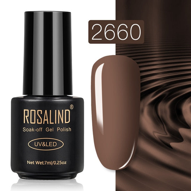 38 ROSALIND Gel Nail Polish Nail Art Vernis Semi Permanant UV Primer Manicure 7ML Top Coat Primer Gel Lak Hybrid Nail Polishes
