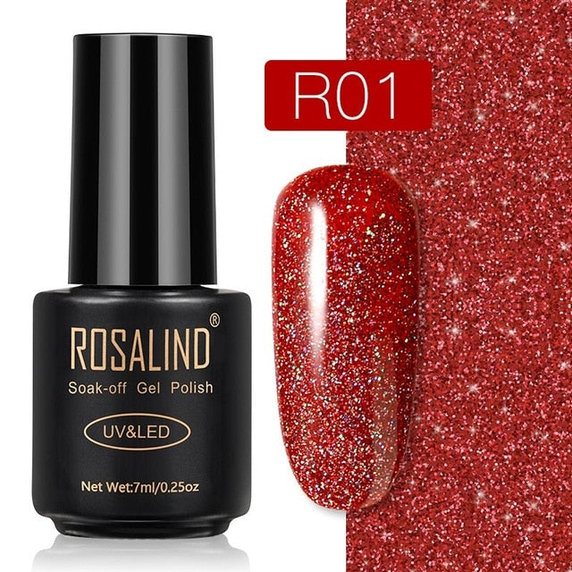 5 ROSALIND Gel Nail Polish Nail Art Vernis Semi Permanant UV Primer Manicure 7ML Top Coat Primer Gel Lak Hybrid Nail Polishes