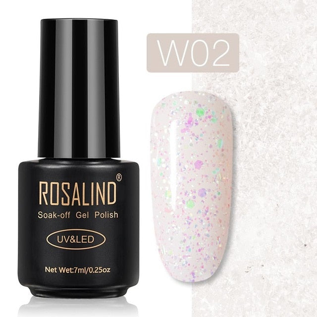 25 ROSALIND Gel Nail Polish Nail Art Vernis Semi Permanant UV Primer Manicure 7ML Top Coat Primer Gel Lak Hybrid Nail Polishes