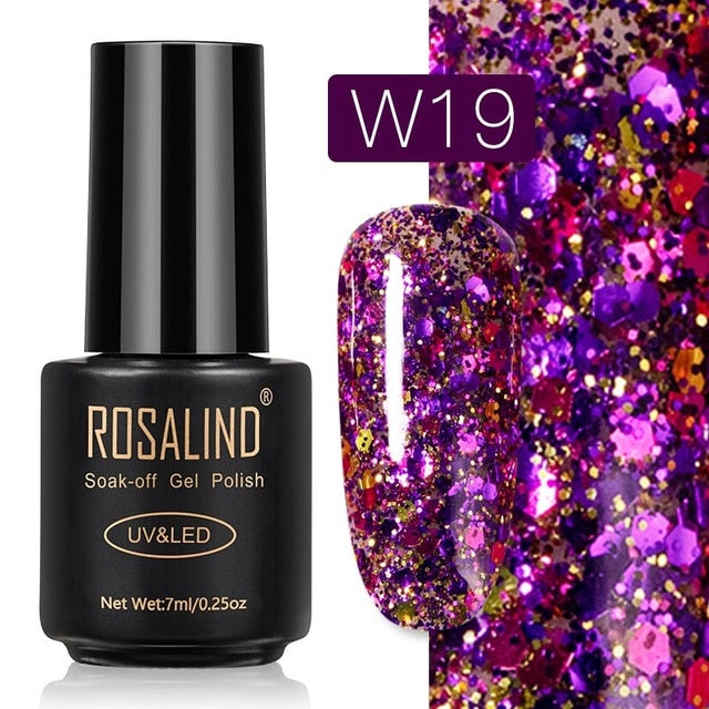 10 ROSALIND Gel Nail Polish Nail Art Vernis Semi Permanant UV Primer Manicure 7ML Top Coat Primer Gel Lak Hybrid Nail Polishes