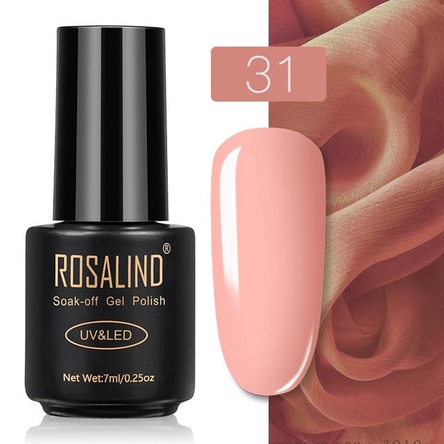 41 ROSALIND Gel Nail Polish Nail Art Vernis Semi Permanant UV Primer Manicure 7ML Top Coat Primer Gel Lak Hybrid Nail Polishes