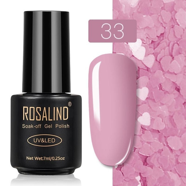 18 ROSALIND Gel Nail Polish Nail Art Vernis Semi Permanant UV Primer Manicure 7ML Top Coat Primer Gel Lak Hybrid Nail Polishes