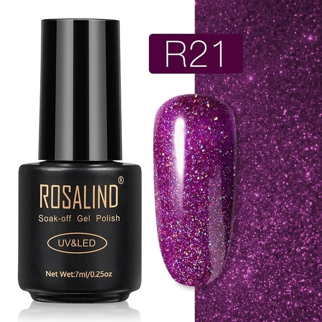 16 ROSALIND Gel Nail Polish Nail Art Vernis Semi Permanant UV Primer Manicure 7ML Top Coat Primer Gel Lak Hybrid Nail Polishes
