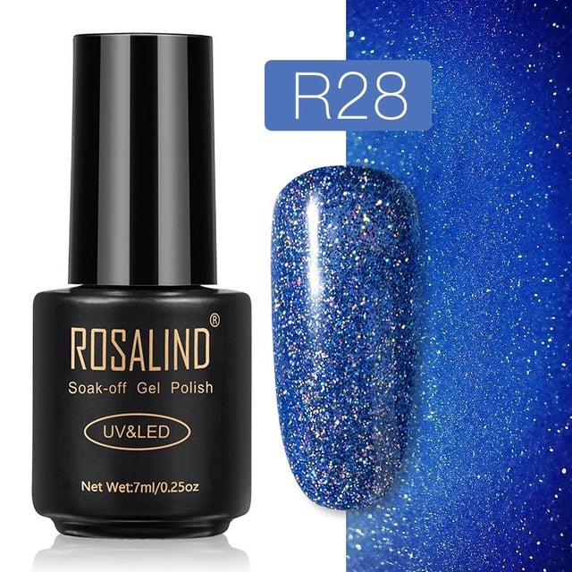 28 ROSALIND Gel Nail Polish Nail Art Vernis Semi Permanant UV Primer Manicure 7ML Top Coat Primer Gel Lak Hybrid Nail Polishes