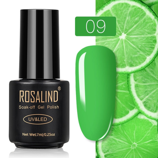 6 ROSALIND Gel Nail Polish Nail Art Vernis Semi Permanant UV Primer Manicure 7ML Top Coat Primer Gel Lak Hybrid Nail Polishes