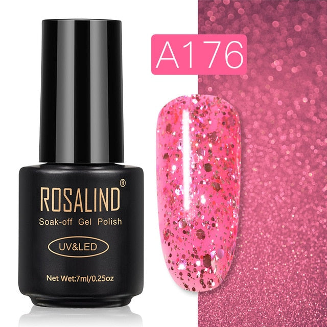 61 ROSALIND Gel Nail Polish Nail Art Vernis Semi Permanant UV Primer Manicure 7ML Top Coat Primer Gel Lak Hybrid Nail Polishes