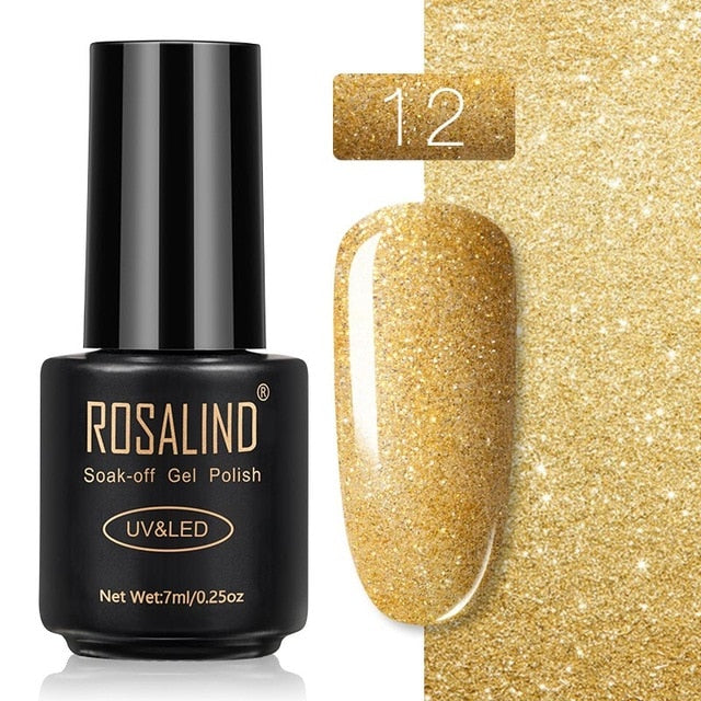 27 ROSALIND Gel Nail Polish Nail Art Vernis Semi Permanant UV Primer Manicure 7ML Top Coat Primer Gel Lak Hybrid Nail Polishes