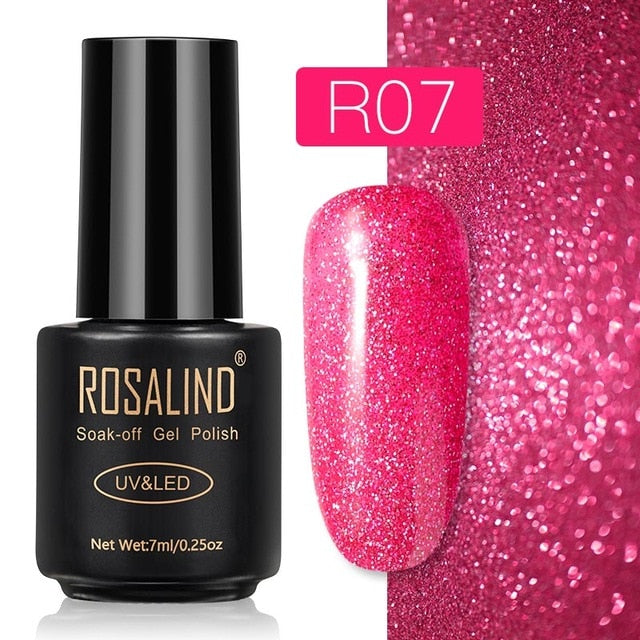 15 ROSALIND Gel Nail Polish Nail Art Vernis Semi Permanant UV Primer Manicure 7ML Top Coat Primer Gel Lak Hybrid Nail Polishes