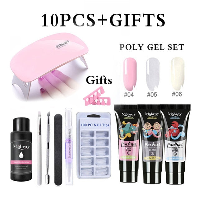 10pcs/Kit Nail Extension Poly Gel Set With Nial Tips Dual Form Qiuck Dry Polygel Builder Gel For Manicure Finger Extension Brush