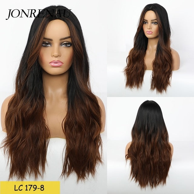Brown to Golden Blonde Ombre JONRENAU Long Synthetic Natural Wave  Hair Wig Daily Wear Wigs for White /Black women
