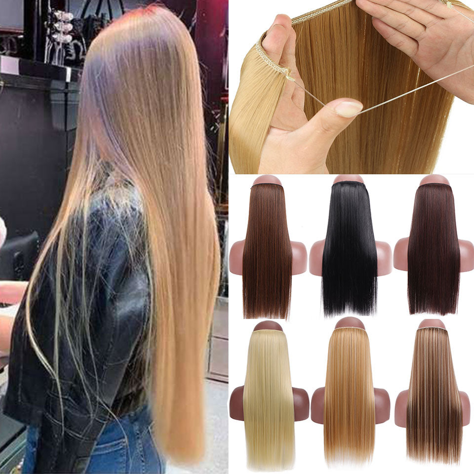 Ombre 24inch SHANGKE No Clips In Straight Hair Extensions Invisible  Bayalage Synthetic Natural Hidden Secret Wire Crown Grey Pink Hair