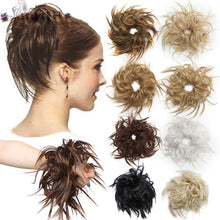 Color27T613 S-noilite Messy hair Bun Tousled hairpiece Elastic Band Chignon hair Curly Scrunchie Updo Cover Synthetic Hairpiece for women