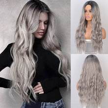 Blond and Black  Ombre  26inch AISI BEAUTY Long Wavy Womens Wig Natural Part Side Hair  Synthetic Wigs Platinum Heat Resistant for Women