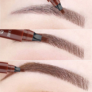 Dark Brown 5 Colors Eyebrow Pen Waterproof 4 Fork Tip Eyebrow Tattoo Pencil Cosmetic Long Lasting Natural  Liquid Eye Brow Pencil