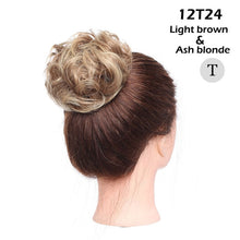 Color27H613  Snoilite 35color elastic band chignon hair extension synthetic Scrunchies bun hair Updo donut fake hair hairpiece for women
