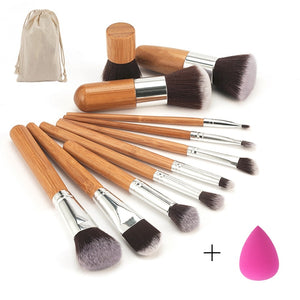Professional Bamboo Handle Makeup Brushes Eyeshadow Lip Concealer Blush Foundation Brush + Blending Sponges Puff Makeup Set Tool
