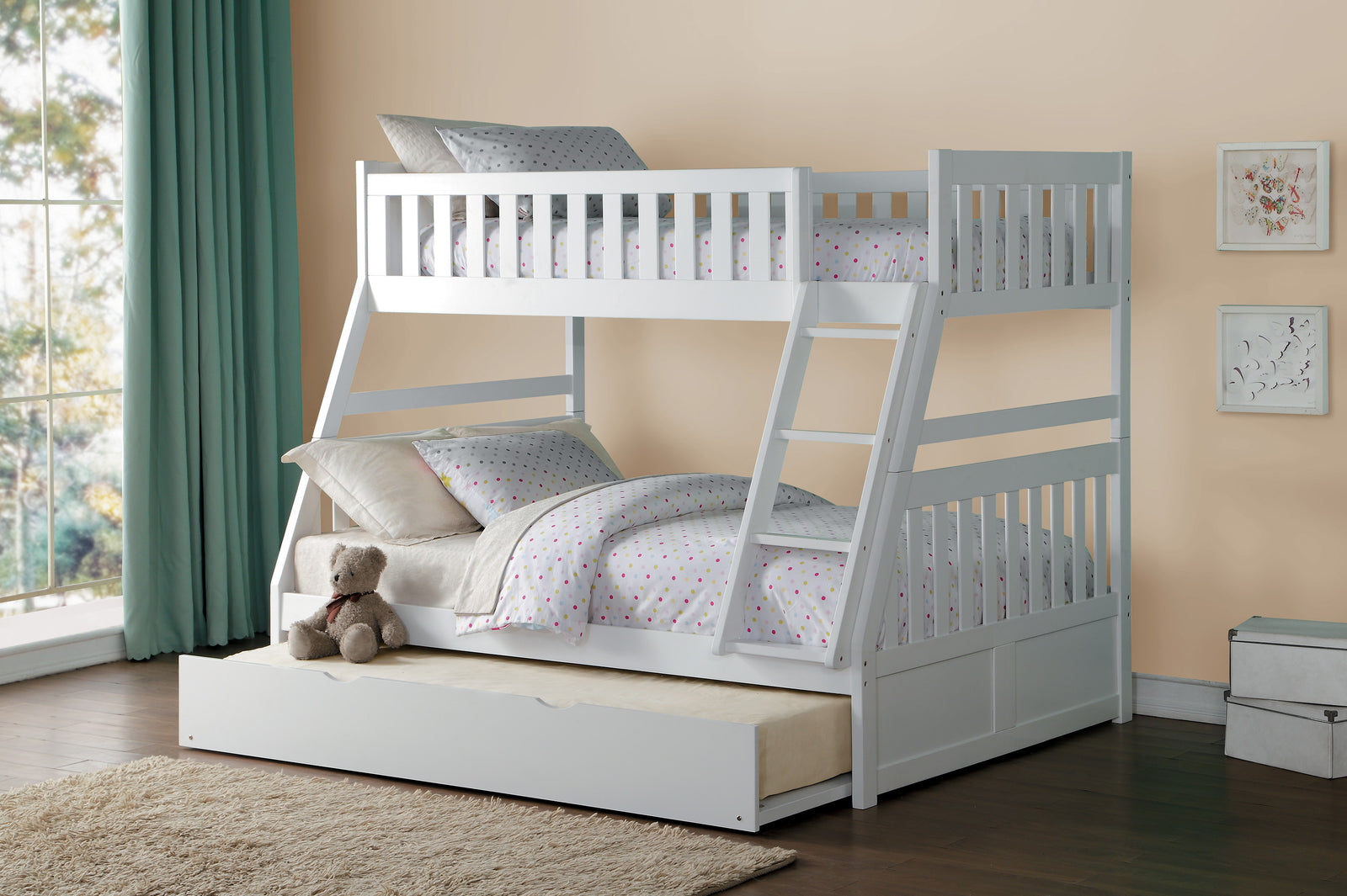 Haley Twin/Full Bunk Bed - White