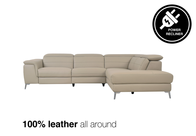 Lazzaro Leather Power Recliner Sectional