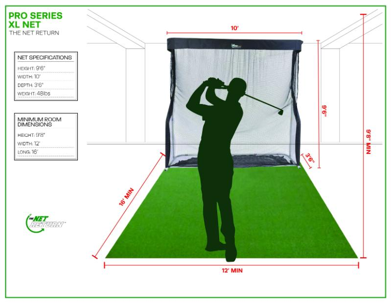 Pro Series XL Golf Net Room Specs