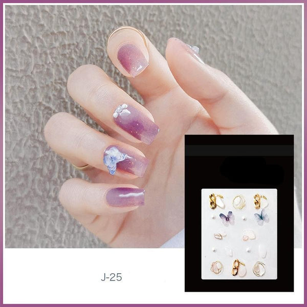 J25 Purple Butterfly Nail Decals