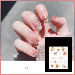 J27 Orange Butterfly Nail Decals
