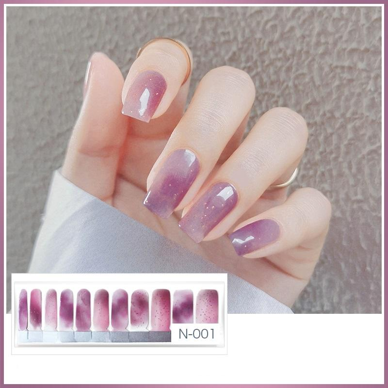 N001 Shading Tapestry Purple With Gold Glitter Ombre Nail Strips