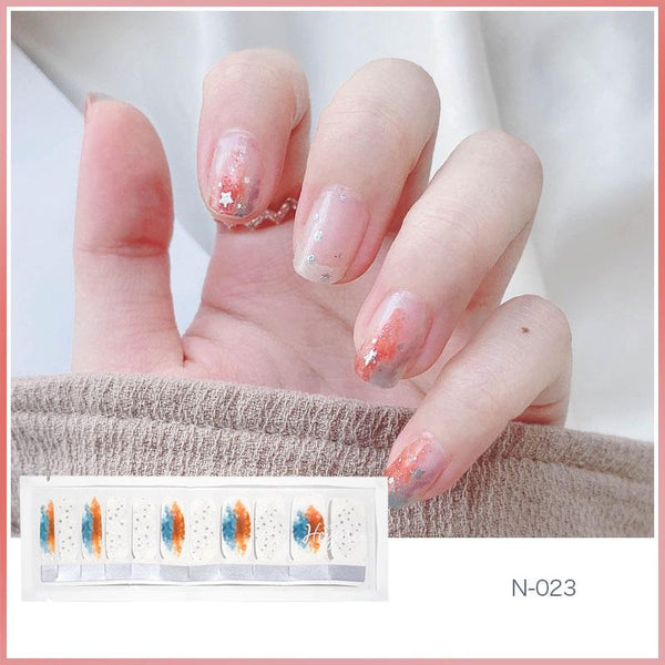 N023 Clear Base with Paarl Orange Blue Mix Nail Strips