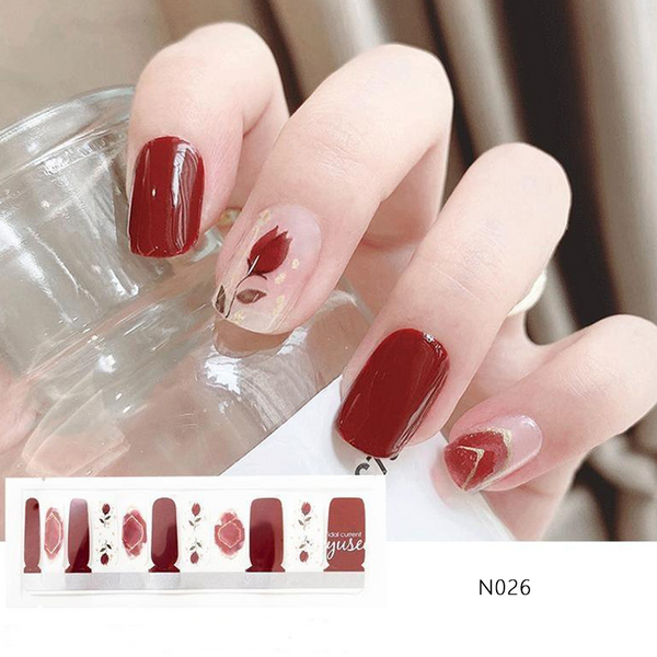 N026 Shading Old Brick Red With Blonzing Gold Floral Rose Print Ombre Nails Strips