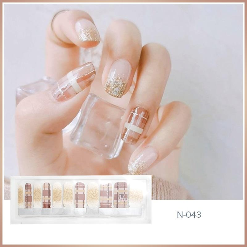 N043 Plaid Nude Channel Nail Strips