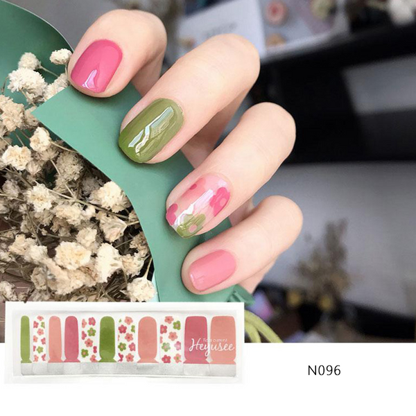 N096 Tickle Me Pink Shadow Green Nail Strips