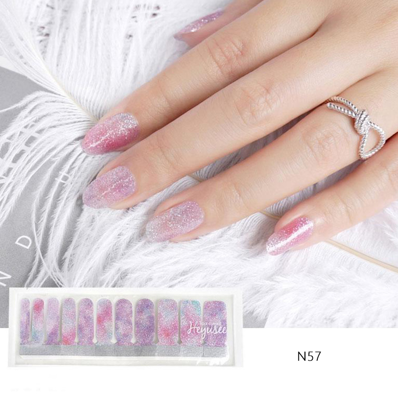 N57 Shading Galaxy Purple With Silver Glitter Ombre Nails Strips