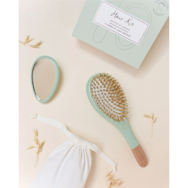 Hair brush and miror - Green