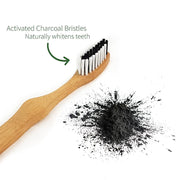 Activ charcoal in bamboo toothbrush