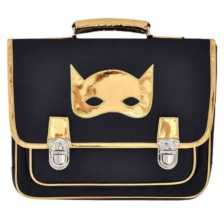 Your child will be able to go to school as a true superhero thanks to this black satchel from Caramel & Cie and its great golden mask pattern!