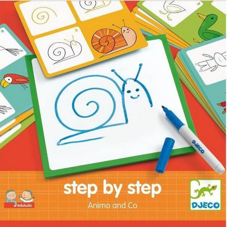 DJECO - Step by step drawing kit to teach children how to draw animals easily