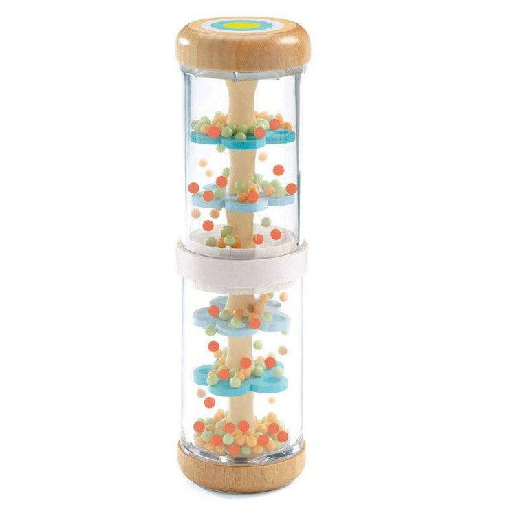 This nice wood and plastic rainstick has been designed by Djeco to help baby discover the world. It can either be flipped or shaken, to create different sounds.