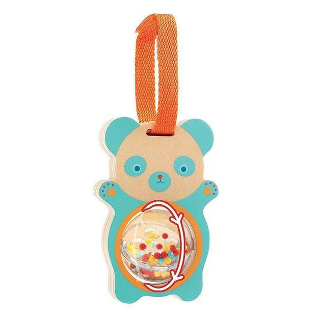 This lovely little rattle, designed by Djeco, is a wooden panda rattle.