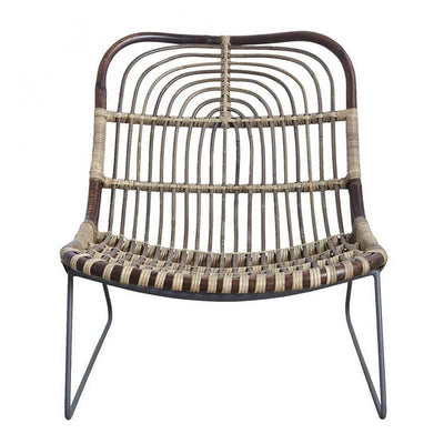 Kawa metal and rattan armchair